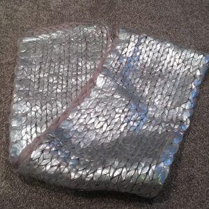 H&M metallic silver chunky knit scarf